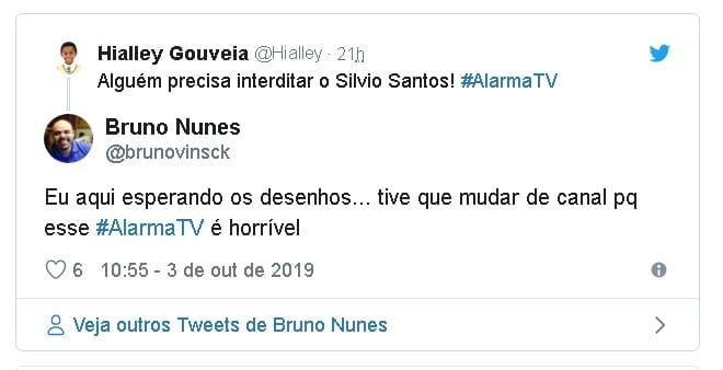 Alarma TV - Alguém precisa interditar o Silvio Santos! #AlarmaTV Eu aqui esperando os desenhos... tive que mudar de canal pq esse #AlarmaTV é horrível