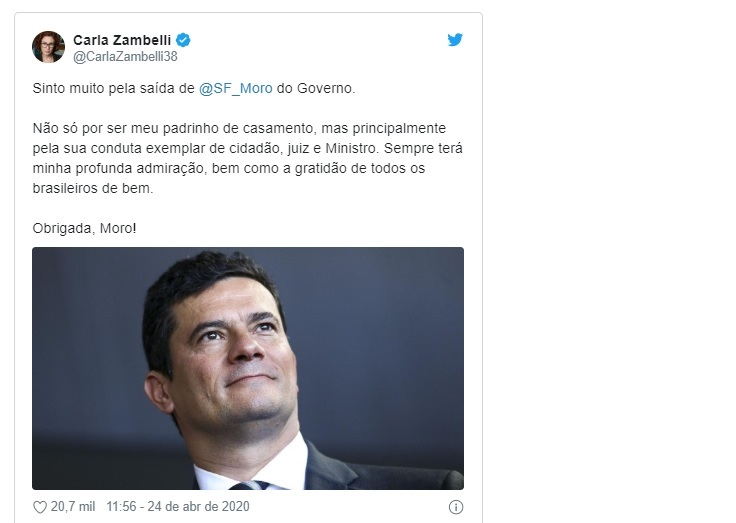A deputada federal Carla Zambelli usou suas redes sociais para lamentar o fim do ciclo de Moro como ministro da Justiça. Zambelli enalteceu o que classificou como conduta exemplar de cidadao