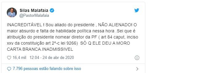 INACREDITÁVEL Sou aliado do presidente , NÃO ALIENADO ELE DEU A MORO CARTA BRANCA