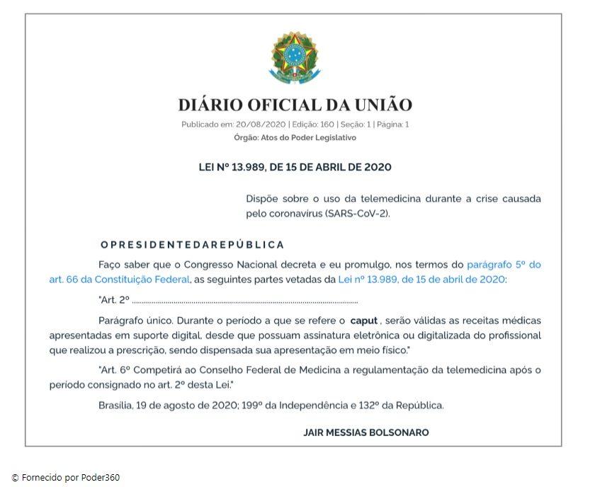 Bolsonaro publica liberação de receita médica digital