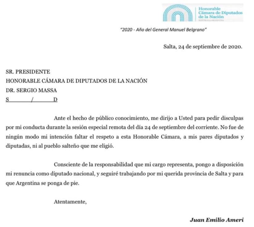 Escândalo: Deputado argentino faz intimidades em sessão virtual da câmara carta de renuncia juan emilio
