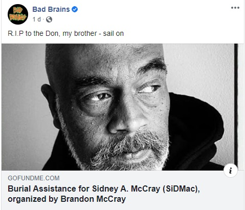 Morre Sid McCray, vocalista original do lendário Bad Brains