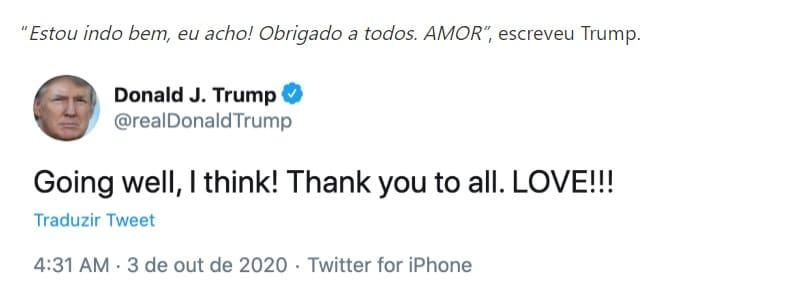 """Donald Trump se pronuncia após diagnostico de covid-19 e diz """"estou indo bem"""""""