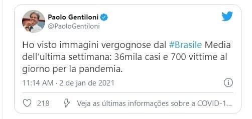 União Europeia critica 'imagem vergonhosa' do Brasil na pandemia