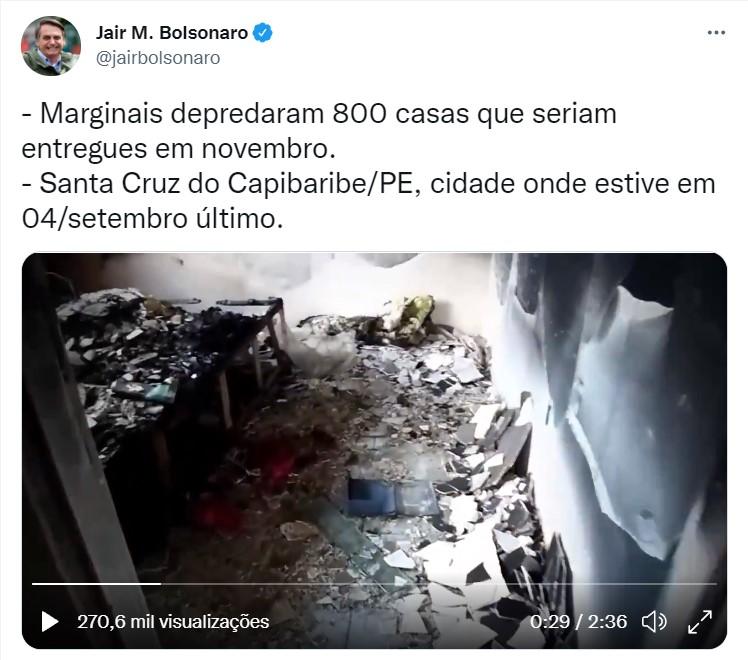 Presidente Bolsonaro volta a compartilhar fake news sobre o MTST